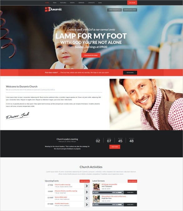 modern podcasting church wordpress template
