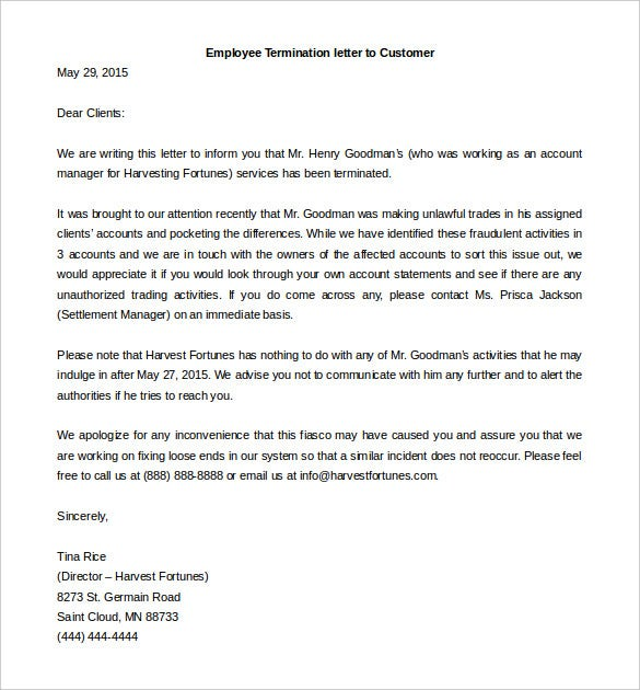 Download Employee Termination Letter To Customers Word Example  Employee Termination Letter Format