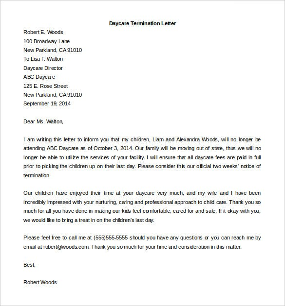 11 employment termination letter templates free sample example download daycare employee termination letter sample printable spiritdancerdesigns Images