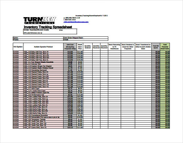 inventory tracking spreadsheet free pdf template download