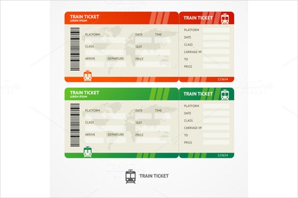 vector train blank tickets