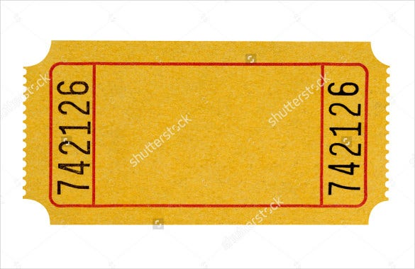 Yellow Blank Ticket  Blank Ticket Template