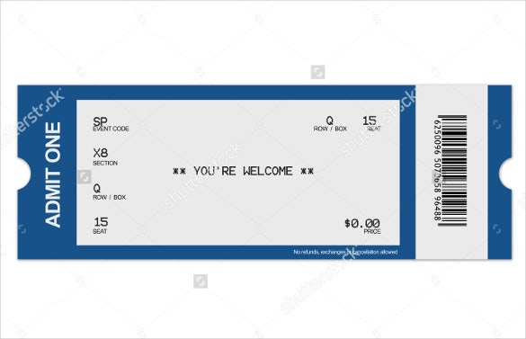 Event Blank Ticket. Download  Fundraiser Ticket Template Free Download
