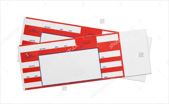 Red Concert Performance Blank Tickets  Concert Ticket Template Free