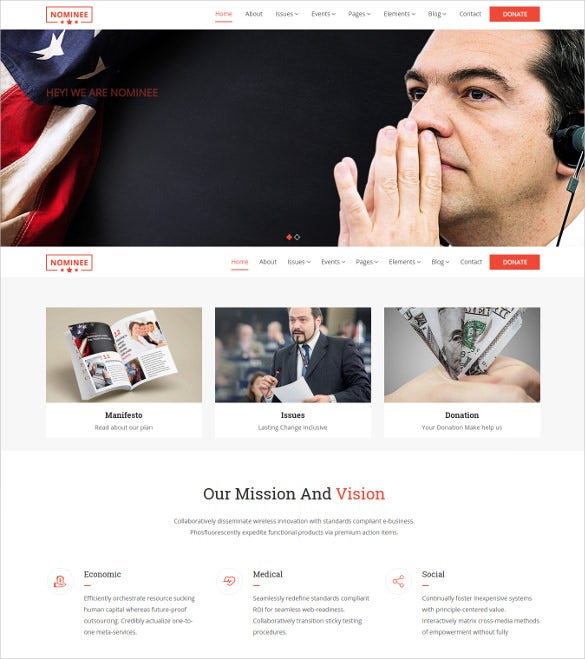 election event political wordpress template