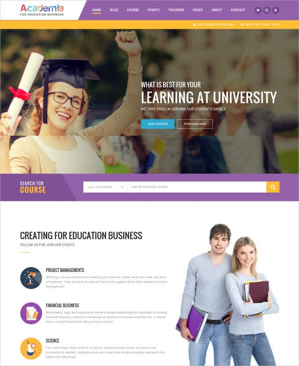 education center event wordpress theme