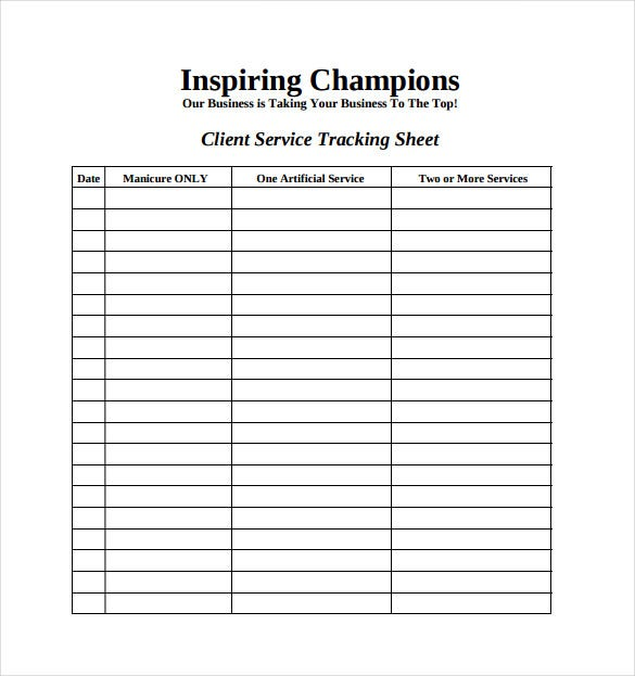 Tracking Spreadsheet Template   Free Word Pdf Documents