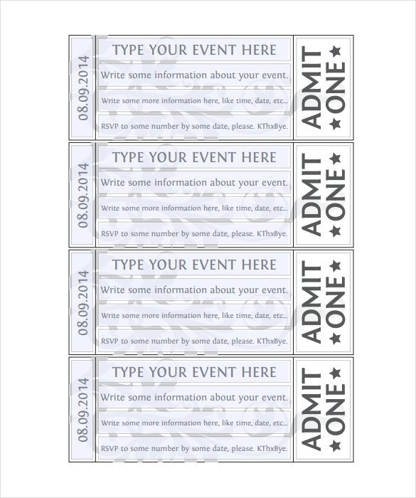 blank ticket templates 29 free psd vector eps ai word format