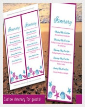Fuchsia Blue Seashell Destination Itinerary Template