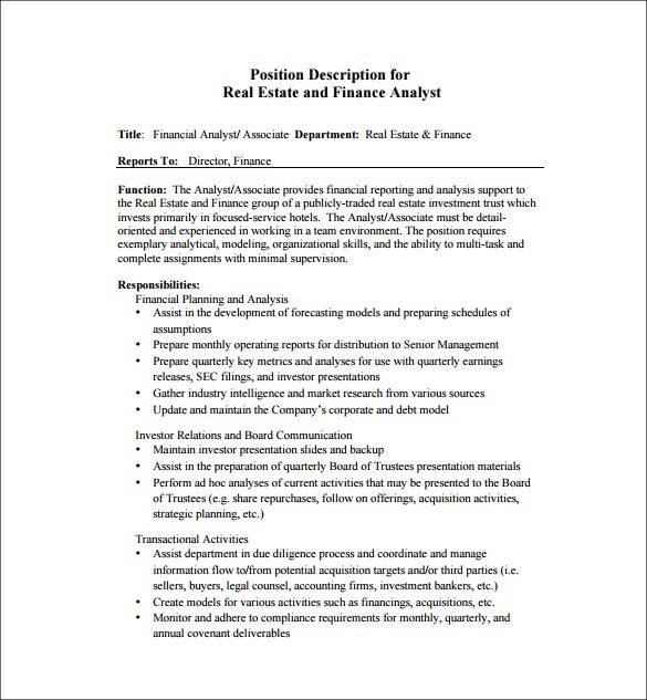 10+ Financial Analyst Job Description Templates - Free Sample