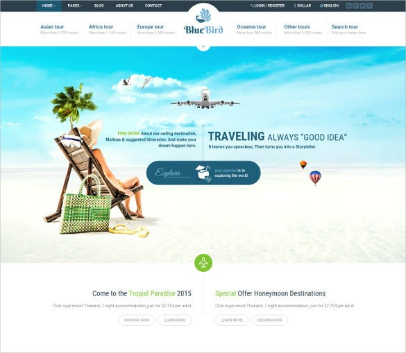 clean travel responsive wordpress template