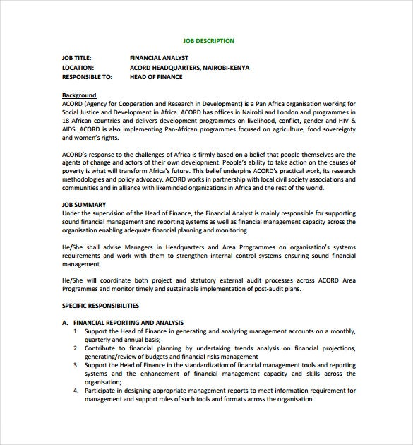 Financial Analyst Job Description Templates  Free Sample