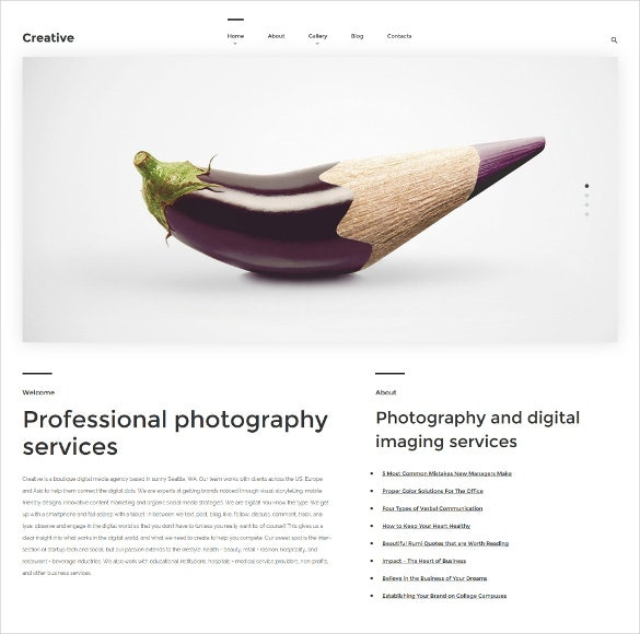 arte photography wordpress template