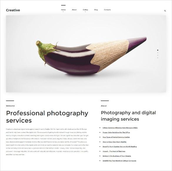 arte photography wordpress template