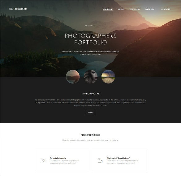 photographer portfolio wordpress website template
