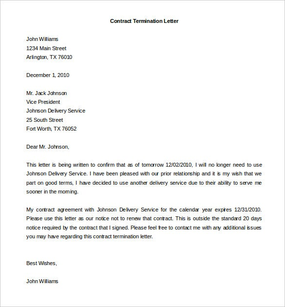 Sample Termination Of Agreement Letters | Template