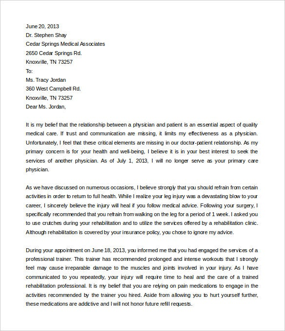 9 Termination of Services Letter Templates Free Sample Example – Medical Letter Template