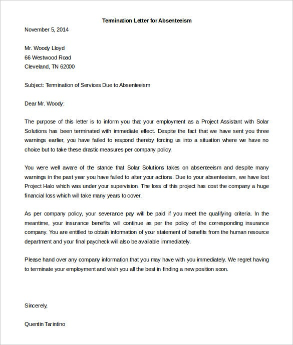 14 termination of services letter templates free sample esampleletters the download termination of services letter due to absenteeism sample is a brilliantly drafted sample termination of services letter spiritdancerdesigns