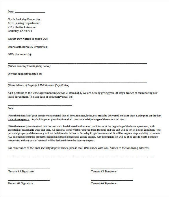 Free Sample 60 Day Rental Termination Letter PDF Format