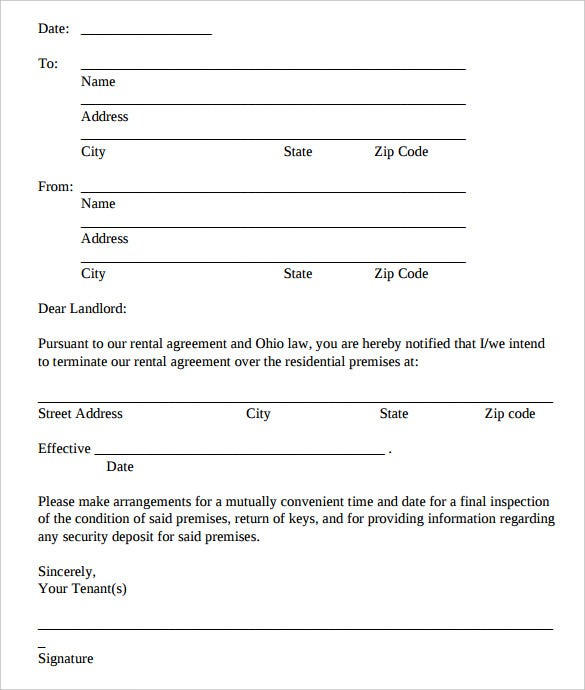 lease agreement letter templates