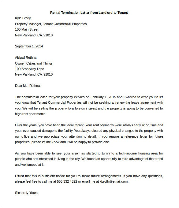 Rental Termination Letter Templates  Free Sample Example