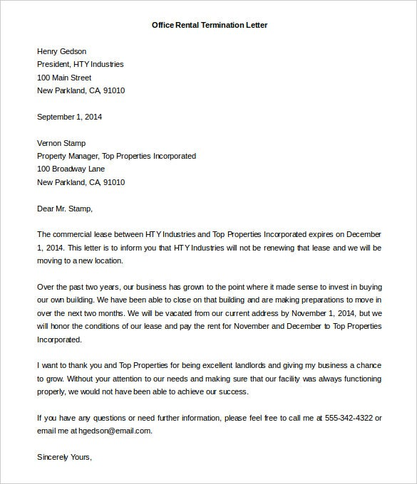 office rental termination letter template free word format