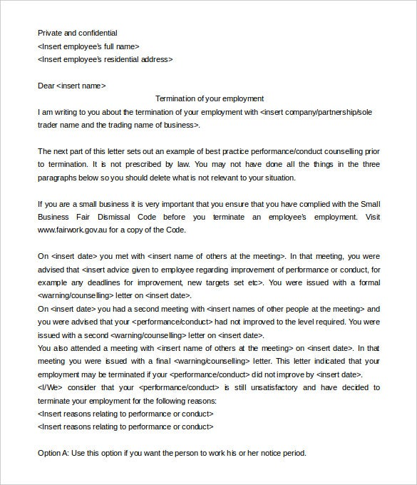 Fairwork.gov.au | The Job Termination Letter By Employee Download Is A  Simple And Well Written Pre Created Job Termination Letter Template.  How To Write A Termination Letter To An Employee