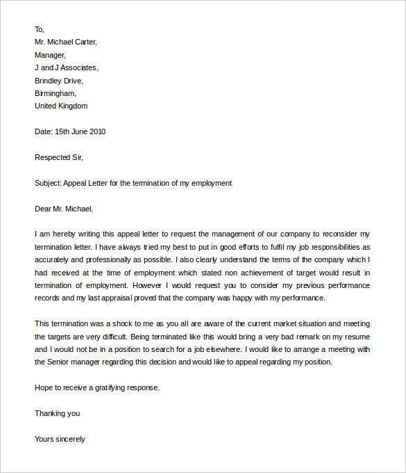 Job Termination Appeal Letter Example In Word Doc