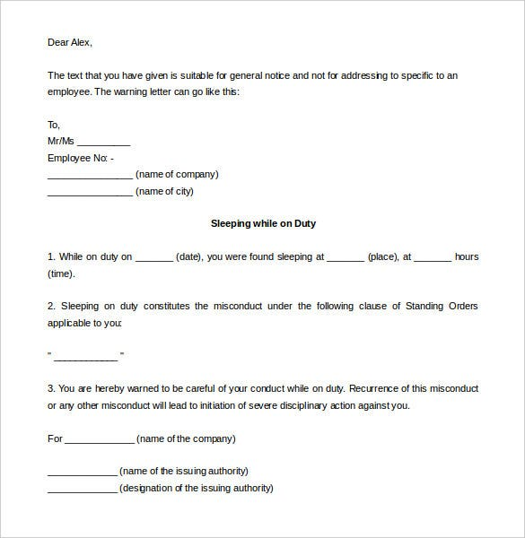 sleeping on the job termination letter template printable
