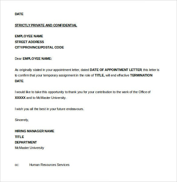 Job Termination Letter Templates  Free Sample Example Format
