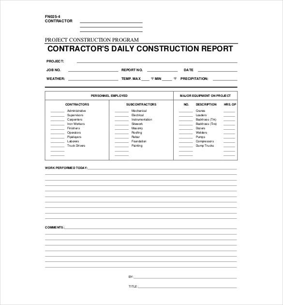 Daily Construction Report Template  Daily Report Templates