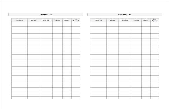 password list spreadsheet word template free download
