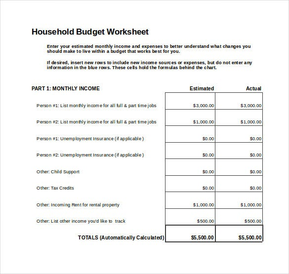 personal monthly budget spreadsheet excel template free download