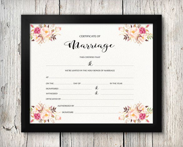 printable wedding marriage certificate