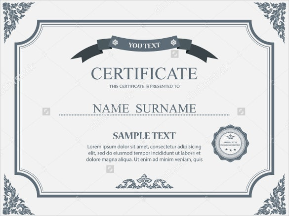 23 Blank Certificate Templates Free PSD Vector EPS AI Format – Template for Certificates