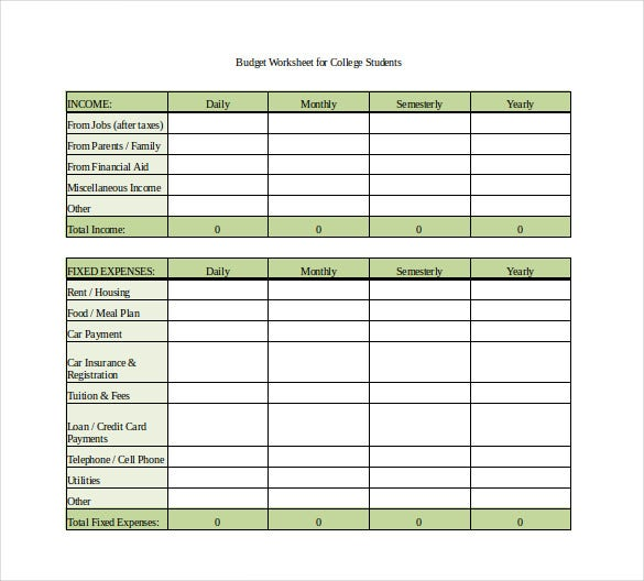 monthly spending worksheet