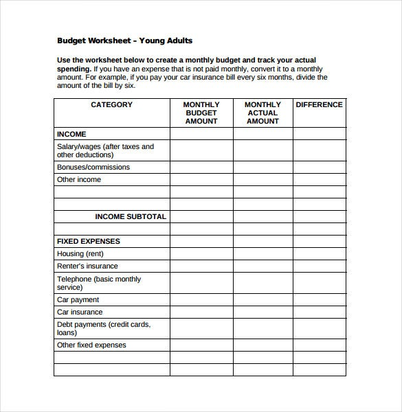 monthly budget spreadsheet for young adults pdf free download