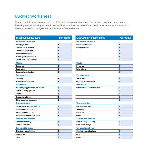 12 sample monthly budget spreadsheet templates word excel free