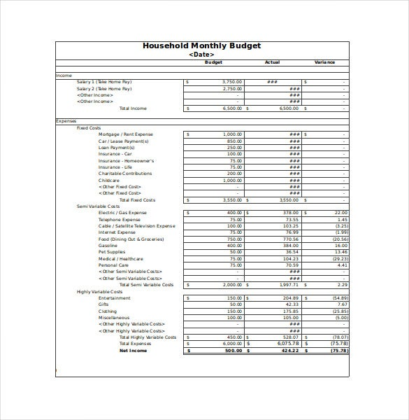 monthly household budget sheet