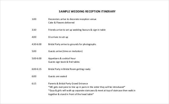 Wedding Itinerary Templates  Free Sample Example Format