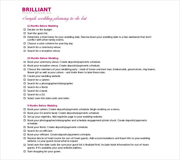 Brilliant Wedding Event Planner Itinerary Template Free