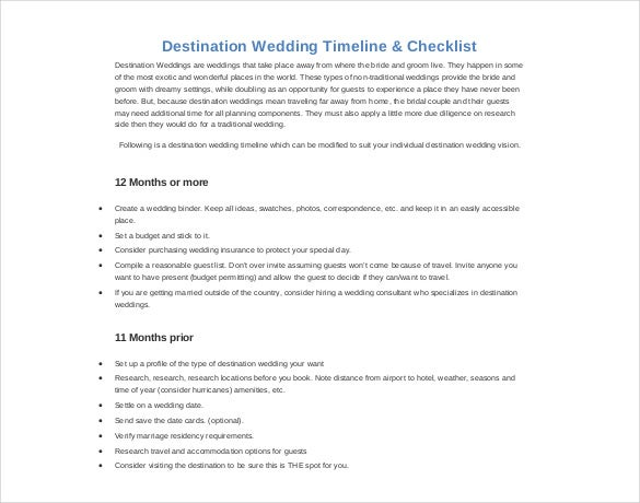 destination wedding timeline itinerary template
