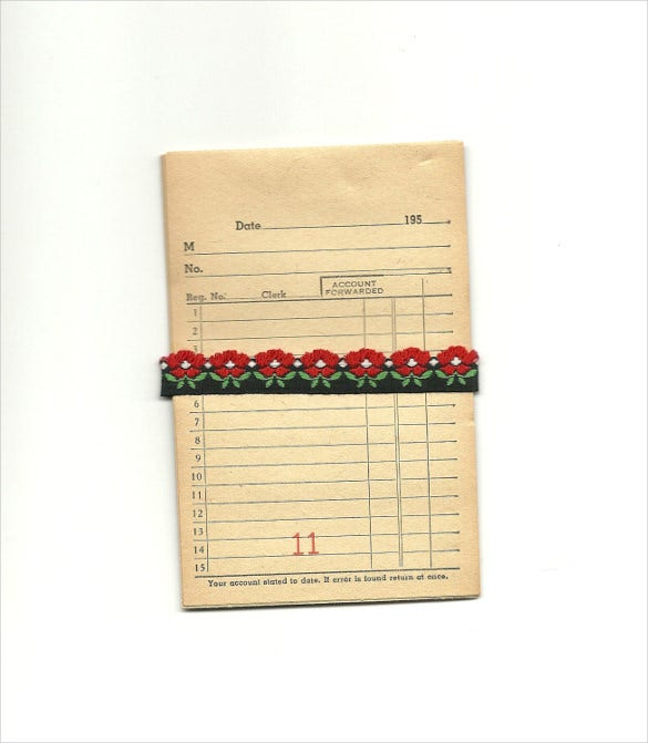 lined paper vintage sales receipts