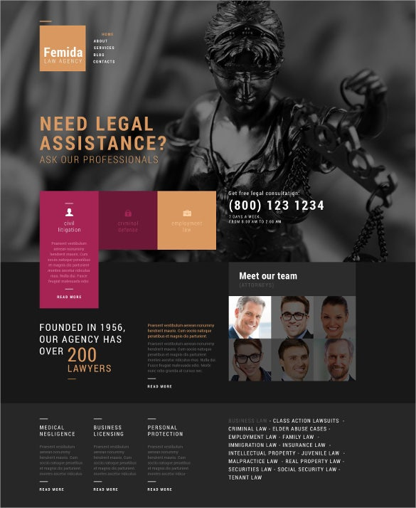 law legal agency wordpress blog theme