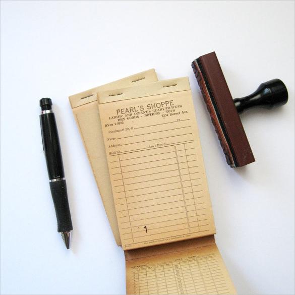 vintage blank receipt book