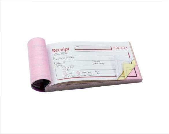 triplicate pocket receipt book