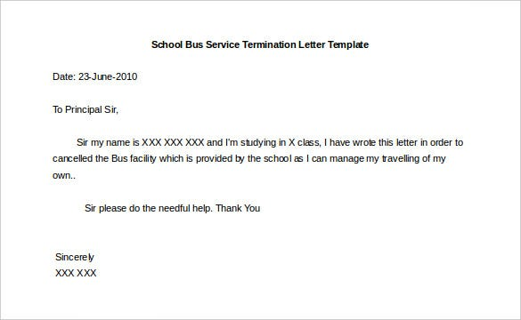 Printable School Bus Service Termination Letter Template Sample