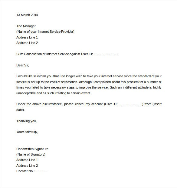 download internet service termination letter template example