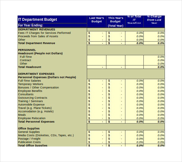it department budget spreadshet excel template free download