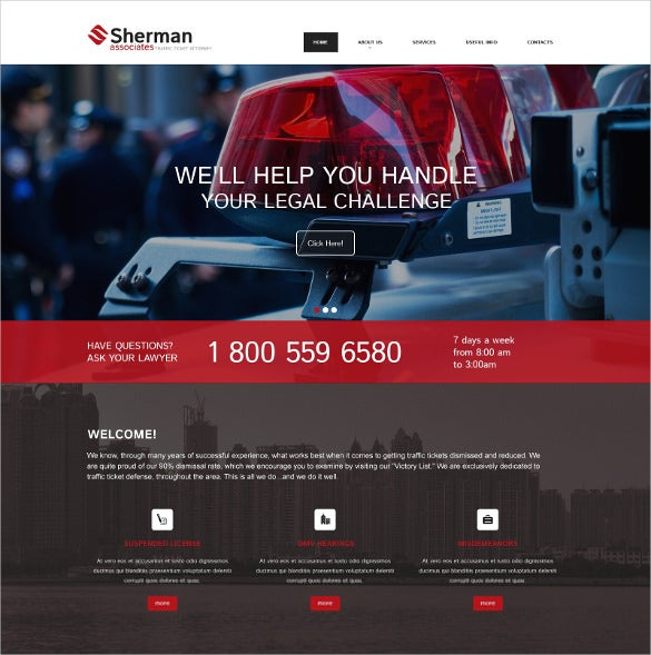 law legal responsive website blog template